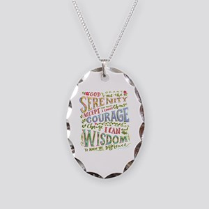 Serenity Prayer - Hand Necklace Oval Charm