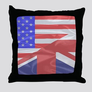 Union Jack and Stars and Stripes Throw Pillow