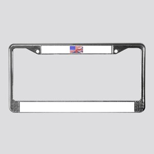Union Jack and Stars and Strip License Plate Frame
