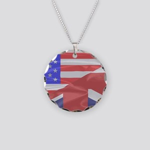64f8a547ee81 Union Jack and Stars and Str Necklace Circle Charm