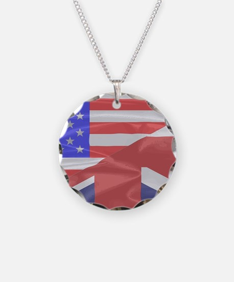 Union Jack and Stars and Str Necklace Circle Charm