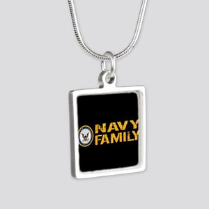 U.S. Navy: Navy Family (Bl Silver Square Necklace