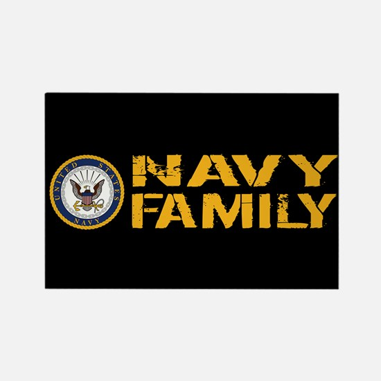 U.S. Navy: Navy Family (Black) Rectangle Magnet