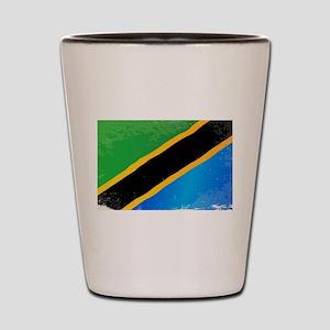 Tanzania Grunge Flag Shot Glass