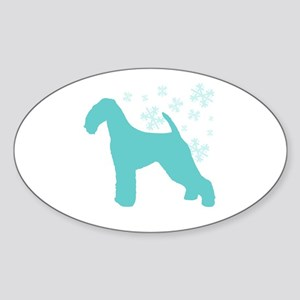 Airedale Terrier Snowflake Oval Sticker