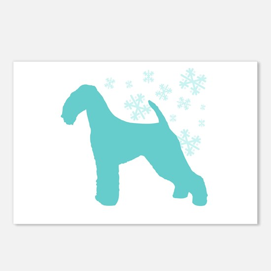 Airedale Terrier Snowflake Postcards (Package of 8