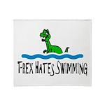 T Rex Hates Swimming Throw Blanket