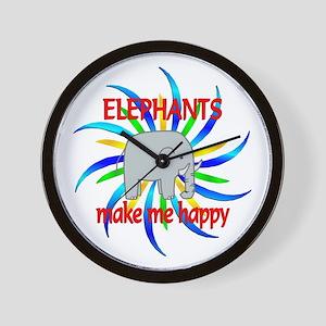 Elephants Make Me Happy Wall Clock