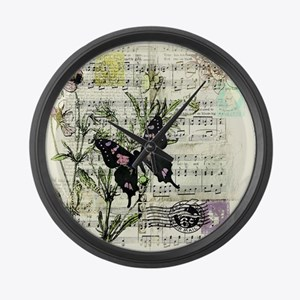 Pansies and music Large Wall Clock
