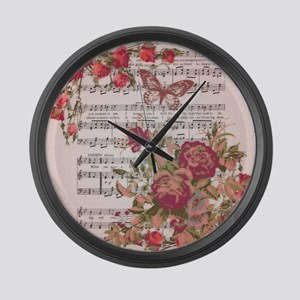 Red roses and music Large Wall Clock