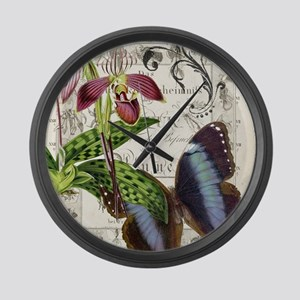 Orchid and butterfly print Large Wall Clock