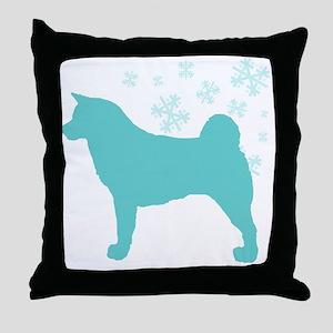 Akita Snowflake Throw Pillow