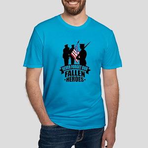 Never Forget Fallen Men's Fitted T-Shirt (dark)