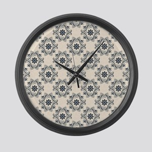 blue vintage pattern Large Wall Clock
