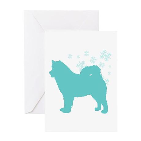 Alaskan Malamute Snowflake Greeting Card