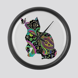 Paisley cat and butterfly Large Wall Clock