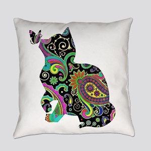 Paisley cat and butterfly Everyday Pillow