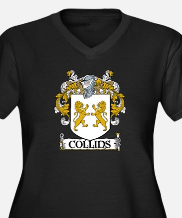 Collins Coat of Arms Women's Plus Size V-Neck Dark