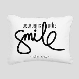 Peace begins with a smile Rectangular Canvas Pillo