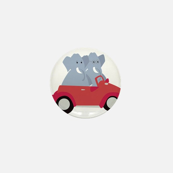 Funny elephants in red beetle car Mini Button