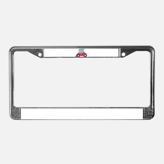 Funny elephants in red beetle License Plate Frame