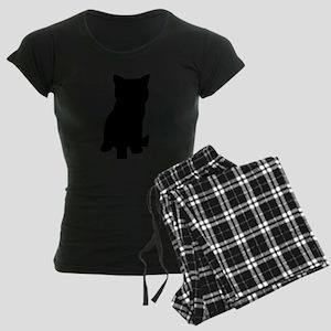 Silhouette of cat Women's Dark Pajamas