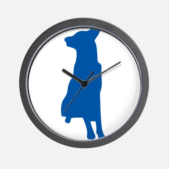 Blue sitting dog silhouette Wall Clock