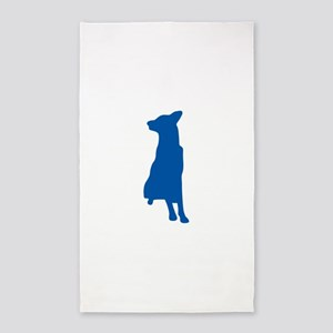 Blue sitting dog silhouette Area Rug