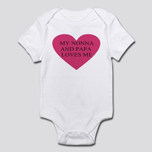 Nonna and papa loves me pink Infant Bodysuit