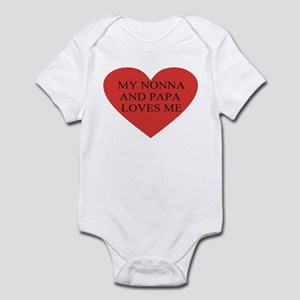 nonna and papa loves me red Infant Bodysuit
