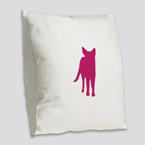 German shepherd dog silhouette Burlap Throw Pillow