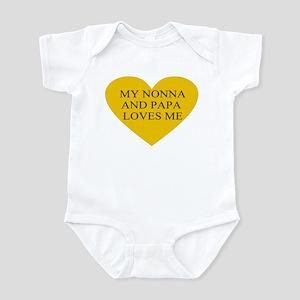 nonna and papa loves me yello Infant Bodysuit