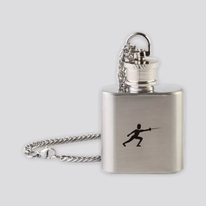 Sport fencing silhouette Flask Necklace