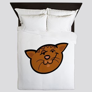 Sadly fearful cat head art Queen Duvet