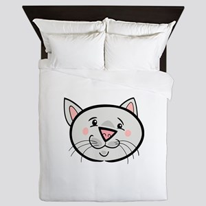 Fearful black cat head art Queen Duvet