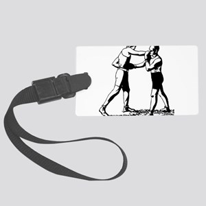 Old time boxing vintage Large Luggage Tag