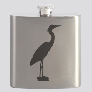Great blue heron silhouette Flask