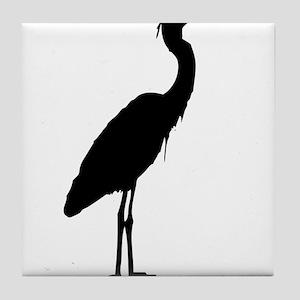 Great blue heron silhouette Tile Coaster