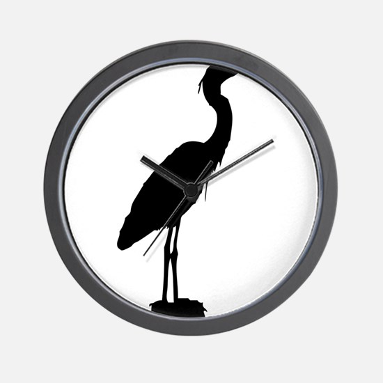 Great blue heron silhouette Wall Clock