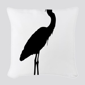 Great blue heron silhouette Woven Throw Pillow