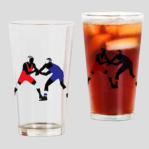 Wrestling fight art Drinking Glass
