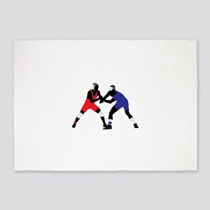 Wrestling fight art 5'x7'Area Rug