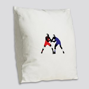 Wrestling fight art Burlap Throw Pillow