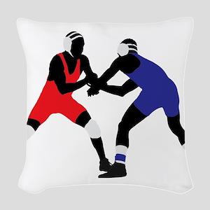Wrestling fight art Woven Throw Pillow