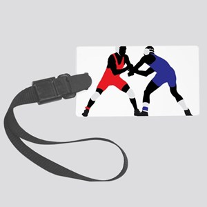 Wrestling fight art Large Luggage Tag