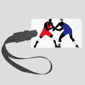 Wrestling fight art Large Luggage Tag