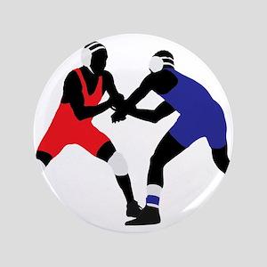Wrestling fight art Button