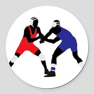 Wrestling fight art Round Car Magnet