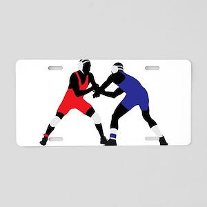 Wrestling fight art Aluminum License Plate