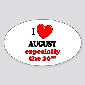 August 20th Oval Sticker